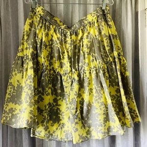 Yellow and gray tiered floral skirt size large